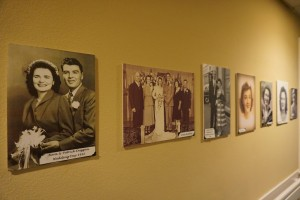 Photos of residents line the walls at Weatherly Inn.