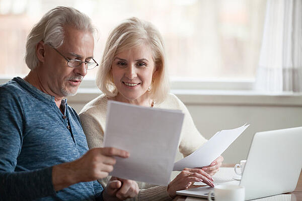 Older couple planning for the costs of memory care