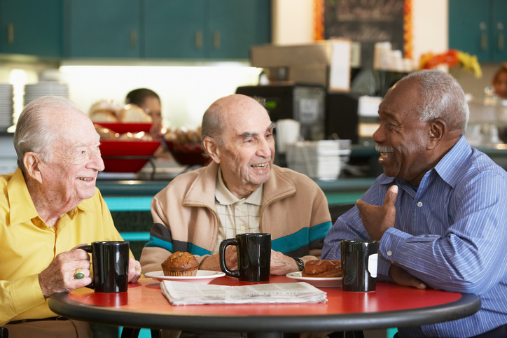 seniors having coffee togther